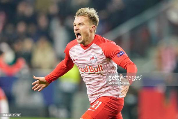 Fredrik Gulbrandsen of Salzburg celbrates his goal during the UEFA Europa League Group B match between FC Salzburg and RB Leipzig at Red Bull Arena...