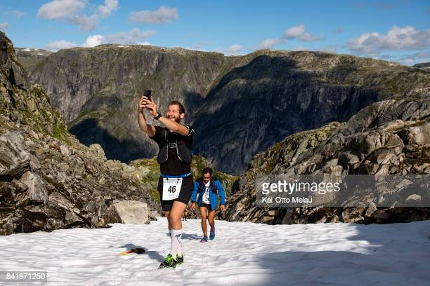 Fredrik Hausmann taking a selfie in the trail at Hardangervidda Marathon on September 2 2017 in Eidfjord Norway Hardangervidda Marathon goes through...