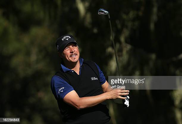 Fredrik Jacobson of Sweden hits a shot during the third round of the ATT Pebble Beach National ProAm at Monterey Peninsula Country Club on February 9...