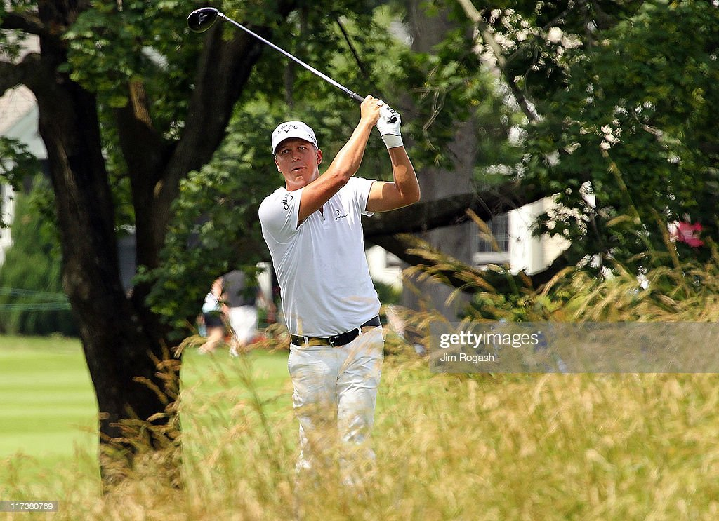 Fredrik Jacobson of Sweden makes shot during the final round of the Travelers Championship at TPC River Highlands on June 26, 2011 in Cromwell, Connecticut.