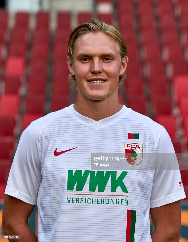 Fredrik Jensen of FC Augsburg poses during the team presentation at WWK Arena on August 9, 2018 in Augsburg, Germany.