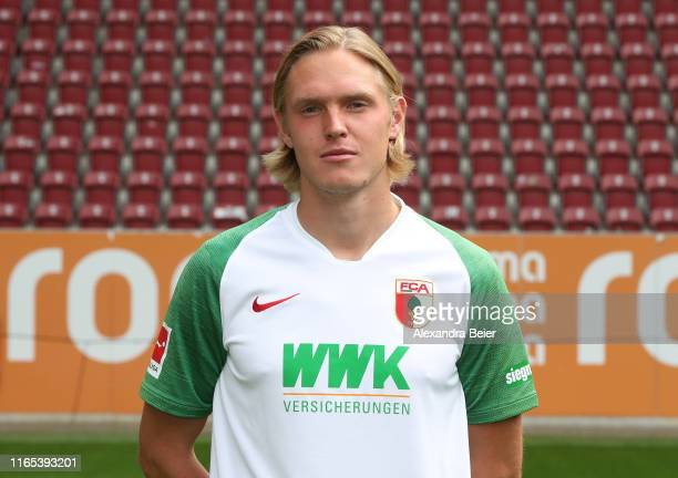 Fredrik Jensen of FC Augsburg poses during the team presentation at WWK-Arena on July 31, 2019 in Augsburg, Germany.