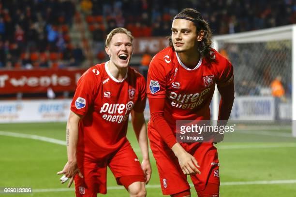 Fredrik Jensen of FC Twente Enes Unal of FC Twenteduring the Dutch Eredivisie match between FC Twente and NEC Nijmegen at the Grolsch Veste on April...