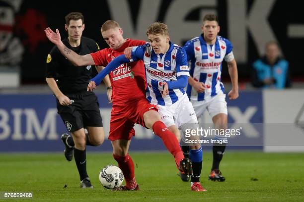 Fredrik Jensen of FC Twente Martin Odegaard of Heerenveen during the Dutch Eredivisie match between Fc Twente v SC Heerenveen at the De Grolsch Veste...