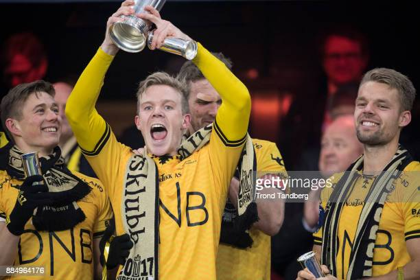 Fredrik Krogstad Mats Haakenstad Lillestrom celebrates with Trophy after victory between Sarpsborg 08 v Lillestrom at Ullevaal Stadion on December 3...