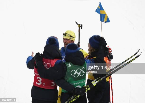 Fredrik Lindstroem of Sweden celebrates with Sebastian Samuelsson, Jesper Nelin and Peppe Femling after winning the gold medal during the Men's...