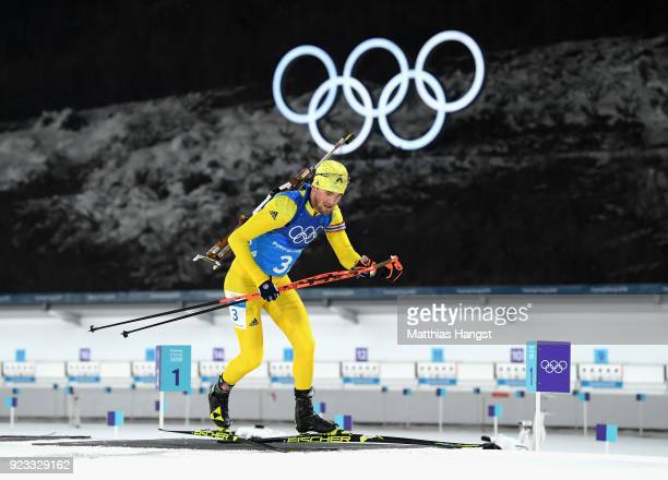 Fredrik Lindstroem of Sweden competes during the Men's 4x7.5km Biathlon Relay on day 14 of the PyeongChang 2018 Winter Olympic Games at Alpensia...