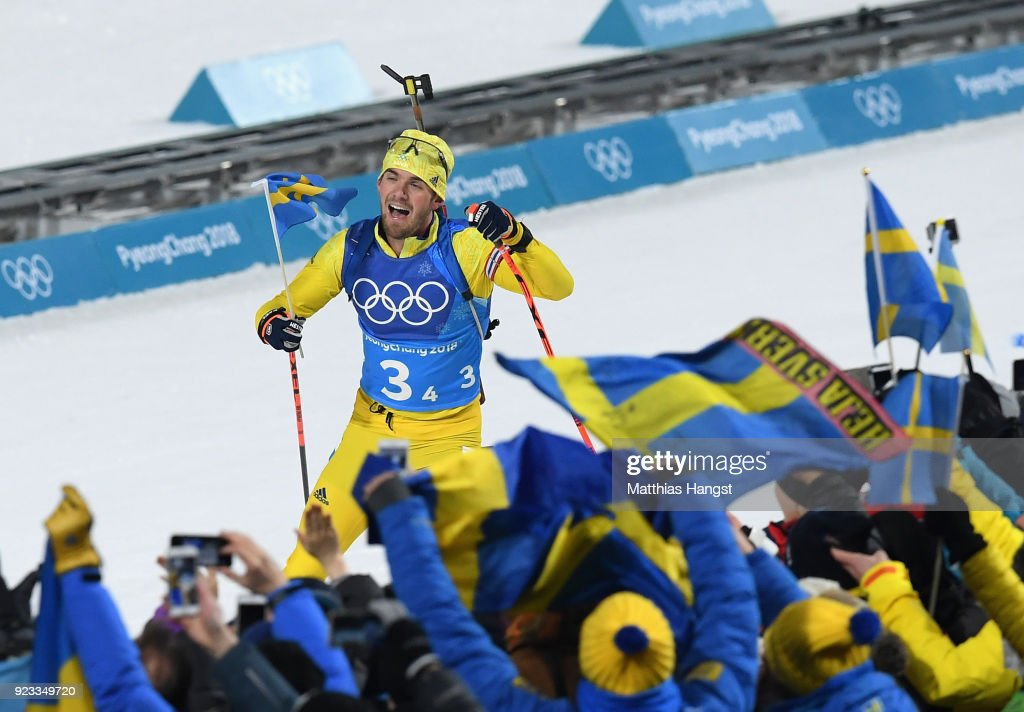 Fredrik Lindstroem of Sweden heads along the finish straight on the way to winning the gold medal during the Men's 4x7.5km Biathlon Relay on day 14 of the PyeongChang 2018 Winter Olympic Games at Alpensia Biathlon Centre on February 23, 2018 in Pyeongchang-gun, South Korea.