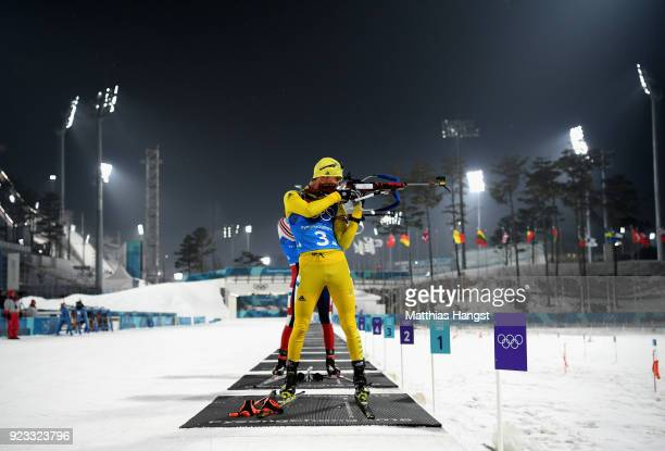 Fredrik Lindstroem of Sweden shoots during the Men's 4x75km Biathlon Relay on day 14 of the PyeongChang 2018 Winter Olympic Games at Alpensia...