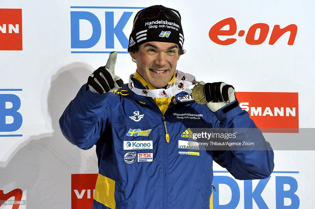 Fredrik Lindstroem of Sweden takes 3rd place during the IBU Biathlon World Championship Men's 15km Individual on February 13, 2013 in Nove Mesto, Czech Republic.