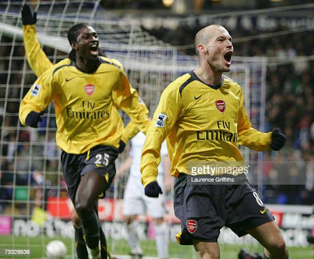 Fredrik Ljungberg of Arsenal celebrates scoring in extra time during the FA Cup sponsored by EON 4th Round Replay match between Bolton Wanderers and...