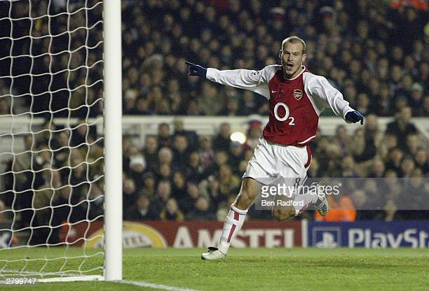 Fredrik Ljungberg of Arsenal celebrates scoring the second goal for Arsenal during the UEFA Champions League Group B match between Arsenal and...