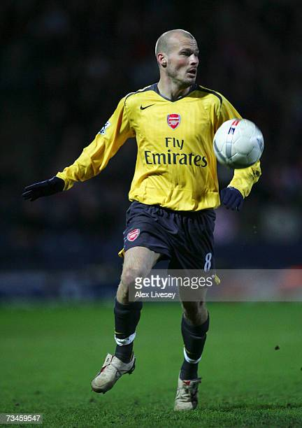 Fredrik Ljungberg of Arsenal in action during the FA Cup sponsored by E.ON 5th Round Replay match between Blackburn Rovers and Arsenal at Ewood Park...