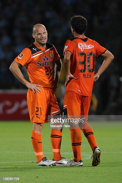 Fredrik Ljungberg of Shimizu SPulse and Alex talk during JLeague match between Kawasaki Frontale and Shimizu SPulse at Todoroki Stadium on September...