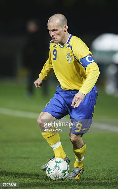 Fredrik Ljungberg of Sweden in action during the Euro2008 Group F Qualifying match between Northern Ireland and Sweden at Windsor Park on March 28...