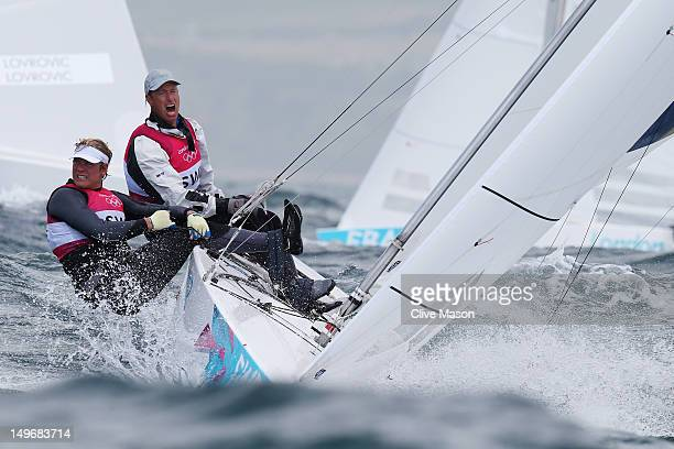 Fredrik Loof and Max Salminen of Sweden competes in the Men's Star Sailing on Day 6 of the London 2012 Olympic Games at the Weymouth Portland Venue...