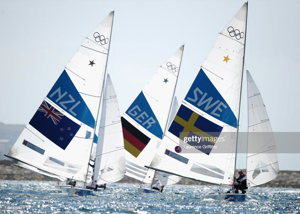 Fredrik Loof and Max Salminen of Sweden on their way to Gold in in the Star Class medal race at Weymouth Harbour on August 5, 2012 in Weymouth, England.