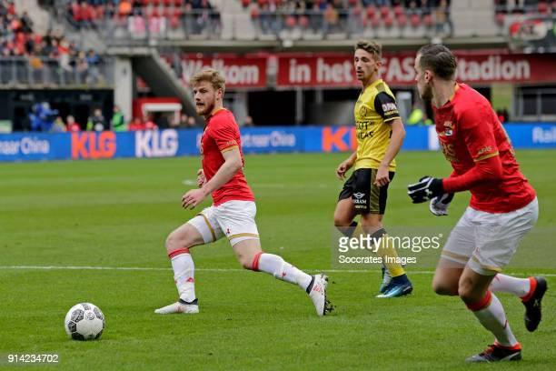 Fredrik Midtsjo of AZ Alkmaar Donis Avdijaj of Roda JC Mats Seuntjens of AZ Alkmaar during the Dutch Eredivisie match between AZ Alkmaar v Roda JC at...