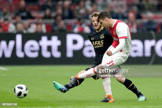 Fredrik Midtsjo of AZ Alkmaar Nicolas Tagliafico of Ajax during the Dutch Eredivisie match between Ajax v AZ Alkmaar at the Johan Cruijff Arena on...