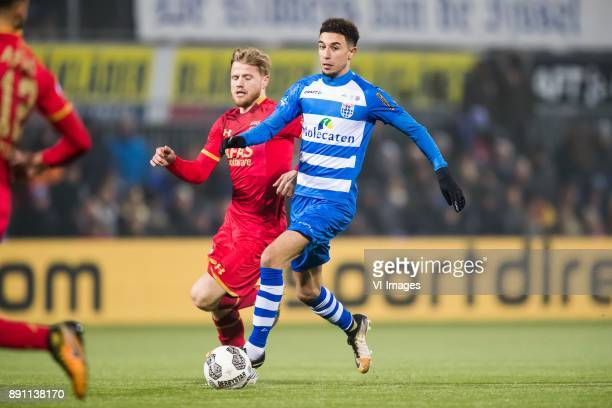 Fredrik Midtsjo of AZ Younes Namli of PEC Zwolle during the Dutch Eredivisie match between PEC Zwolle and AZ Alkmaar at the MAC3Park stadium on...