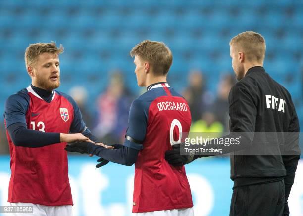 Fredrik Midtsjoe Martin Odegaard of Norway during International Friendly between Norway v Australia at Ullevaal Stadion on March 23 2018 in Oslo...