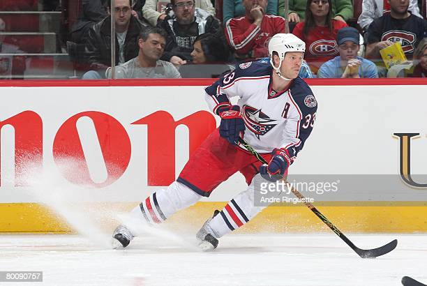 Fredrik Modin of the Columbus Blue Jackets stickhandles the puck against the Montreal Canadiens at the Bell Centre on February 23 2008 in Montreal...