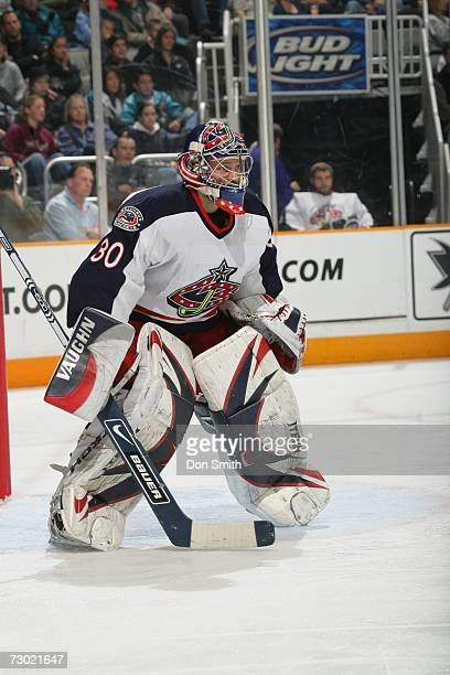 Fredrik Norrena of the Columbus Blue Jackets follows the action during a game against the San Jose Sharks on January 6 2007 at the HP Pavilion in San...