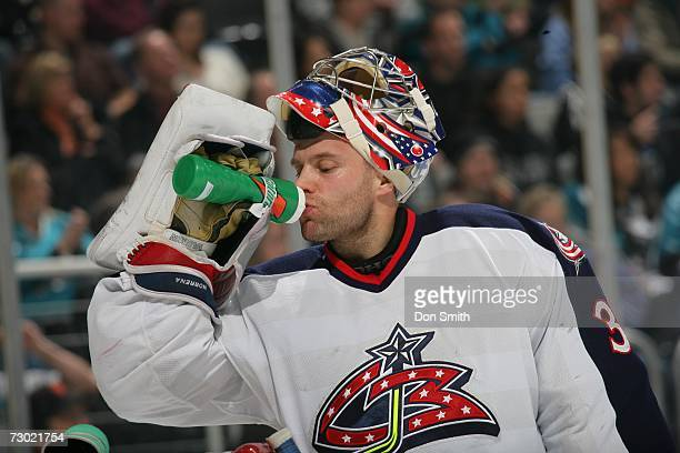 Fredrik Norrena of the Columbus Blue Jackets takes a break during a game against the San Jose Sharks on January 6 2007 at the HP Pavilion in San Jose...
