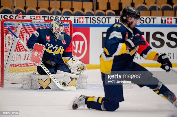 Fredrik Pettersson Wentzel Goaltender of HV71 saves during the Champions Hockey League round of eight game between HV71 Jonkoping and Espoo Blues on...