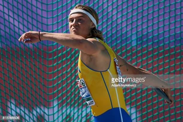 Fredrik Samuelsson from Sweden competes in men's discus throw while decathlon during Day 4 of European Athletics U23 Championships 2017 at Zawisza...