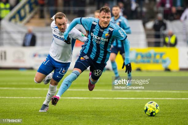 Fredrik Ulvestad of Djurgardens IF runs with the ball during an Allsvenskan match between IFK Norrkoping and Djurgardens IF at Nya Parken on November...