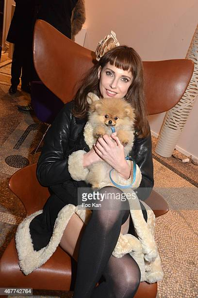 Fredrique Bel and 'Joca ze dog' attend the 'Diamond Night by Divinescence Vendome' Harumi Klossowska Jewellery Exhibition Preview As Part Of Art...