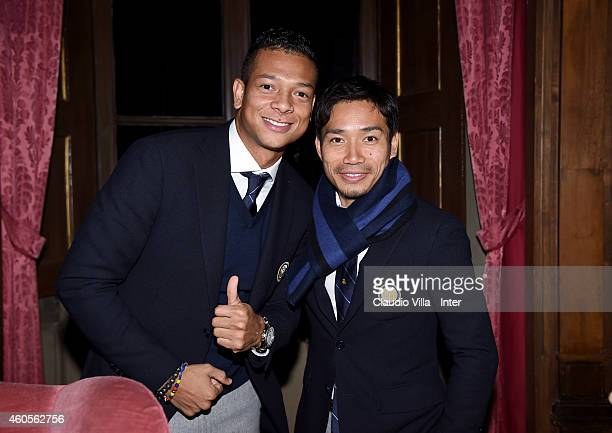 Fredy Guarin and Yuto Nagatomo attend FC Internazionale Sponsor's Christmas Party at Villa Cicogna on December 16 2014 in Milano Italy