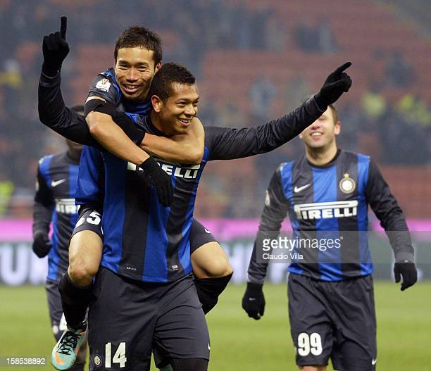Fredy Guarin of FC Inter celebrates with teammate Yuto Nagatomo after scoring during the TIM Cup match between FC Internazionale Milano and Hellas...