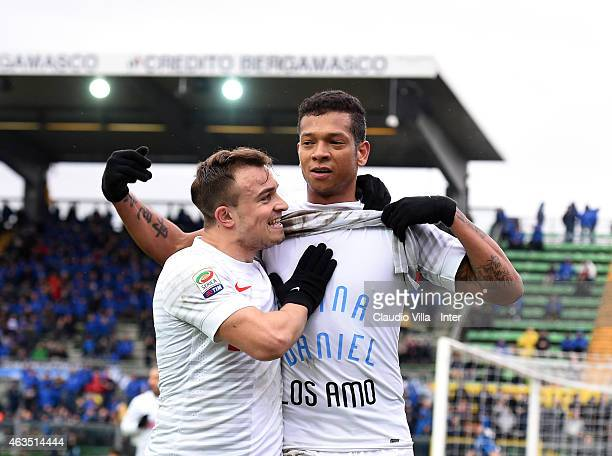 Fredy Guarin of FC Internazionale celebrates after scoring the second goal during the Serie A match between Atalanta BC and FC Internazionale Milano...