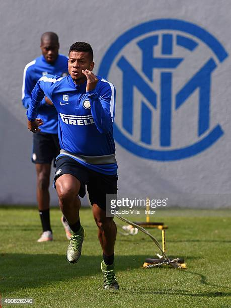 Fredy Guarin of FC Internazionale in action during a training session at the club's training ground at Appiano Gentile on September 30 2015 in Como...