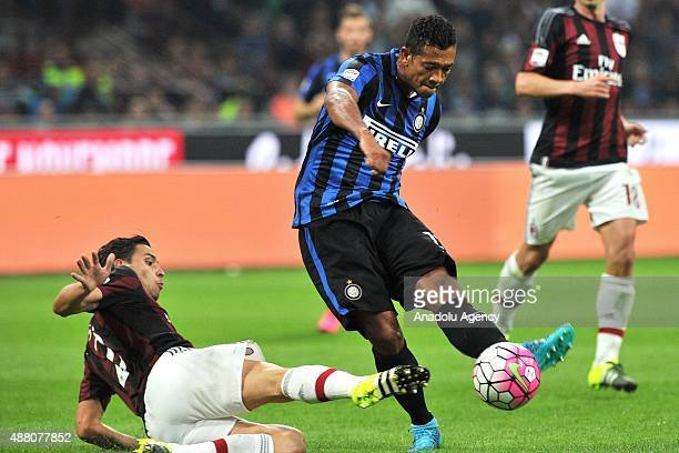 Fredy Guarin of FC Internazionale Milano vies vies for the ball during the Serie A match between FC Internazionale Milano and AC Milan at Stadio...
