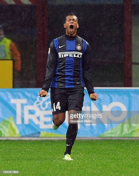 Fredy Guarin of Inter celebrates after scoring the goal 31 during the Serie A match between FC Internazionale Milano and UC Sampdoria at San Siro...