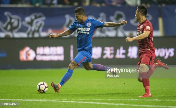 Fredy Guarin of Shanghai Greenland Shenhua in action during the 2018 Chinese Super League match between Shanghai Greenland Shenhua and Shanghai SIPG...