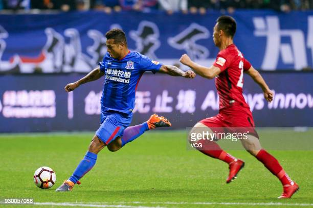 Fredy Guarin of Shanghai Greenland Shenhua kicks the ball during the 2018 Chinese Football Association Super League second round match between...