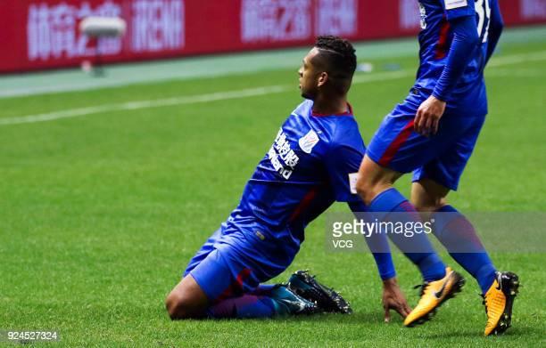 Fredy Guarin of Shanghai Shenhua celebrates a goal during the 2018 Chinese Football Association Super Cup between Shanghai Shenhua and Guangzhou...