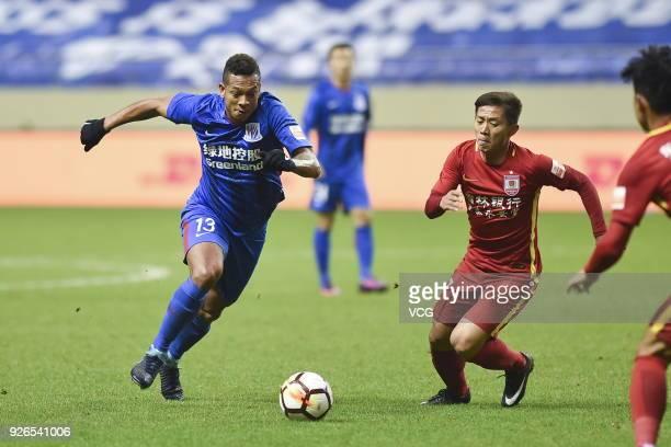 Fredy Guarin of Shanghai Shenhua drives the ball during the 2018 Chinese Football Association Super League first round match between Shanghai Shenhua...