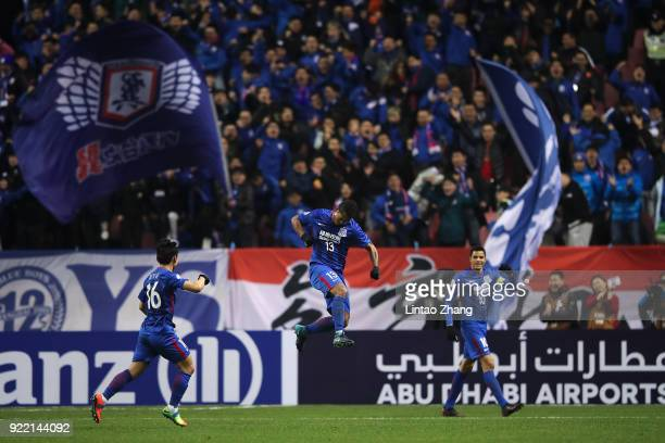 Fredy Guarin of Shanghai Shenhua FC celebrates a point during the AFC Champions League Group H match between Shanghai Shenhua FC and Sydney FC at the...