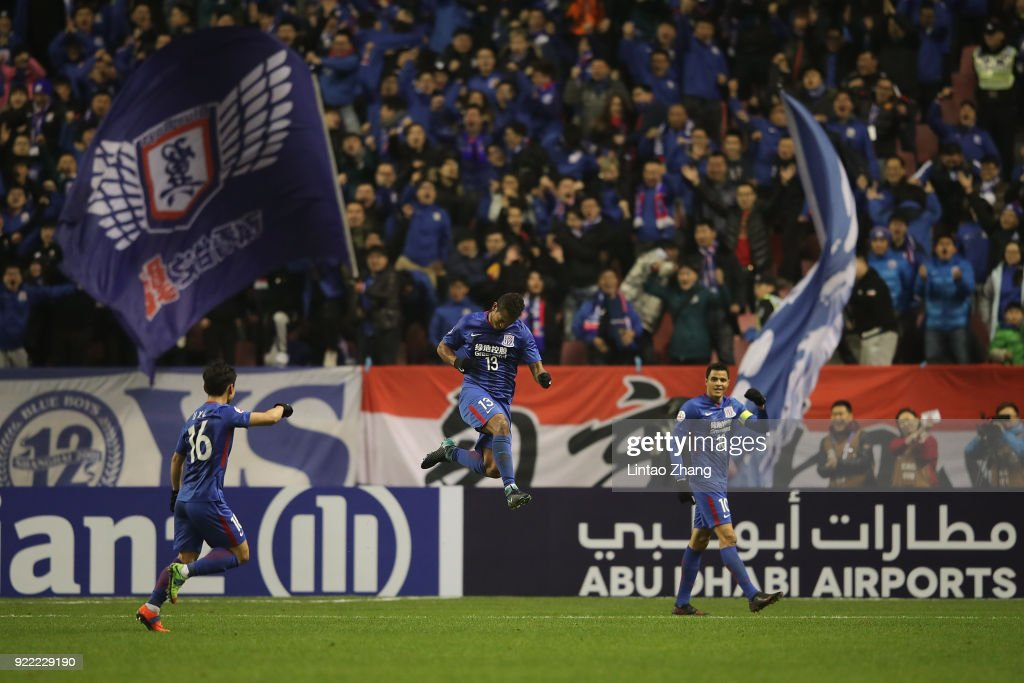Fredy Guarin #13 of Shanghai Shenhua FC celebrates a point during the AFC Champions League Group H match between Shanghai Shenhua FC and Sydney FC at the Hongkou Football Stadium on February 21, 2018 in Shanghai, China.