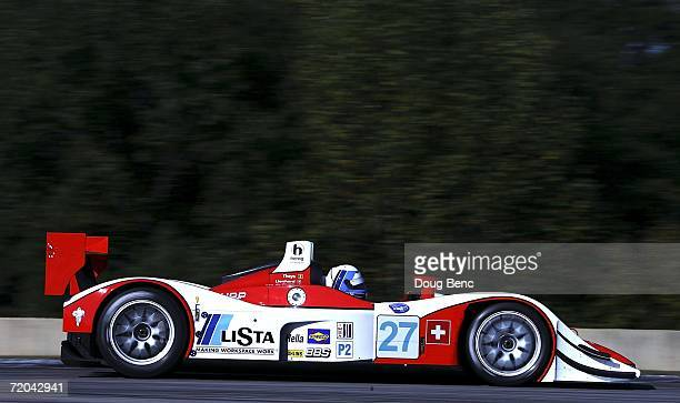 Fredy Lienhard drives the Horag Racing Lola R05/40 during practice for the American Le Mans Series Petit Le Mans at Road Atlanta on September 29,...