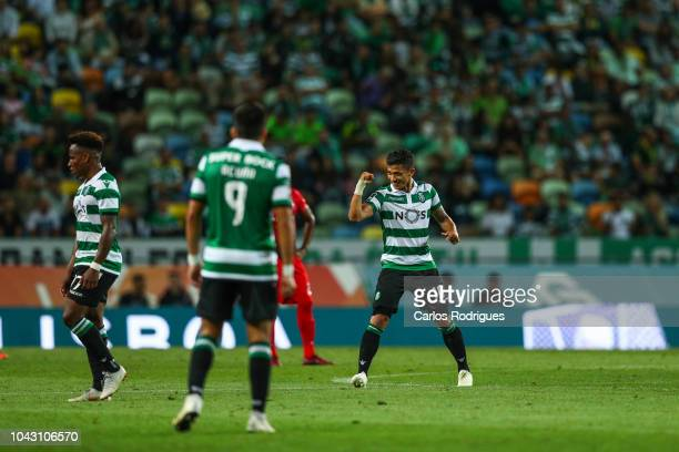 Fredy Monteiro of Sporting CP celebrates scoring Sporting CP second goal during the Liga NOS match between Sporting CP and CS Maritimo at Estadio...