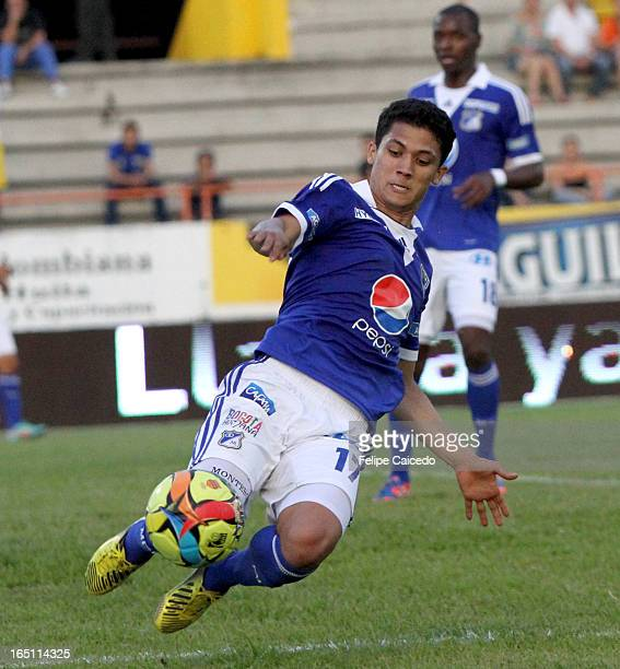 Fredy Montero of Millonarios in action during a match between Millonarios and Huila as part of the Liga Postobon I 2013 at Guillermo Plazas Alcid...