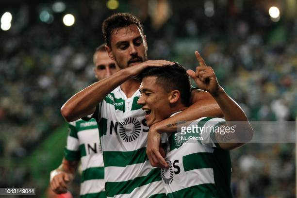Fredy Montero of Sporting celebrates his goal with Andre Pinto of Sporting during Primeira Liga 2018/19 match between Sporting CP vs CS Maritimo in...