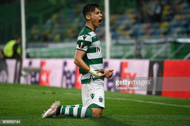 Fredy Montero of Sporting Lisbon celebrates after scores the first goal during the UEFA Europa League Round of 16 first leg match between Sporting...