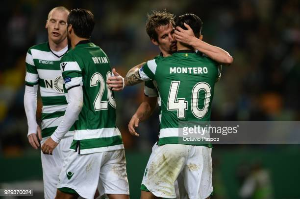 Fredy Montero of Sporting Lisbon celebrates with team mates after scores the first goal during the UEFA Europa League Round of 16 first leg match...